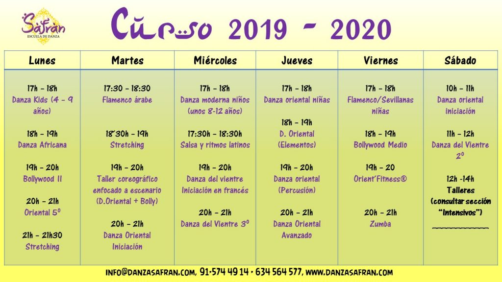 Curso 2019 - 2020 baile madrid danza del vientre bollywood